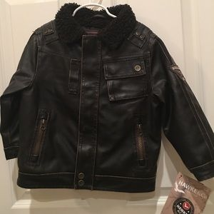 NEW Toddler Hawke & Co distressed leather jacket